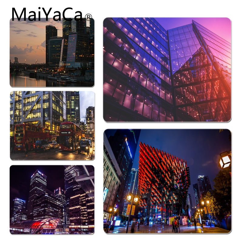 MaiYaCa Personalized Cool Fashion Night Building Customized laptop Gaming mouse pad Size for 18x22cm 25x29cm Small Mousepad