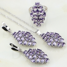 Purple Cubic Zirconia White Stones 925 Silver Jewelry Sets Christmas Gift For Women Wedding Earrings/Pendant/Necklace/Ring
