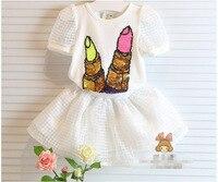 2016 Summer New Toddler Girl Clothing Set 2pcs Tutu Skirt Lipstick T Shirt Organza Children Clothing