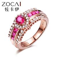 Бренд ZOCAI кольцо Настоящее розовое золото 18 K 1,0 CT Настоящее глубокое красное кольцо с рубином 0,40 карат бриллиантовое кольцо