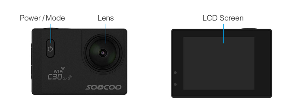 Sports camera 4K SOOCOO C30 Wifi Gyro 30M waterproof Screen