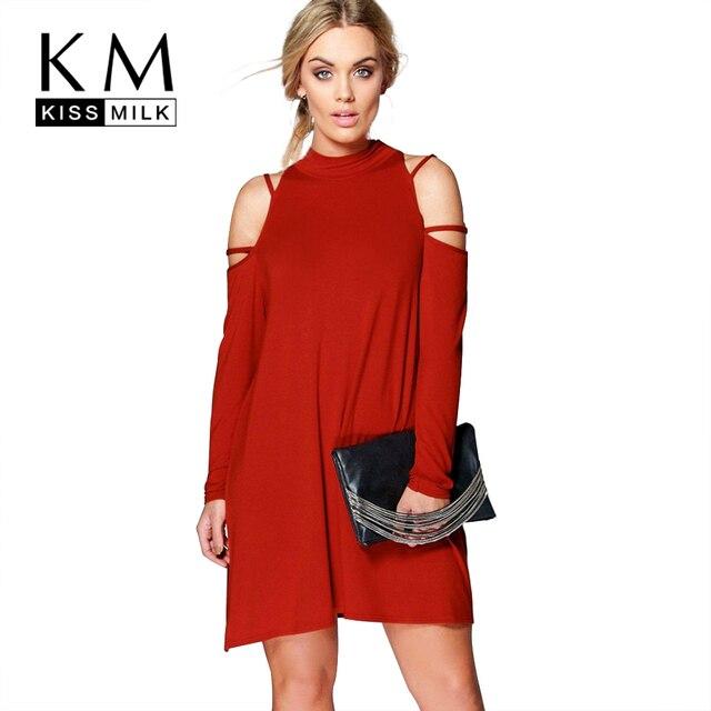 Kissmilk Плюс Размер Новая Мода Женская Одежда Повседневная Твердые Холодный плечо Платье С Длинным Рукавом Основной Большой Размер Dress3XL 4XL 5XL 6XL