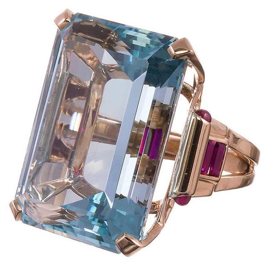 Большой CZ кубический камень цирконий розовое золото цвет кольца для женщин модные ювелирные изделия подарок на день модное кольцо