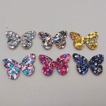 См 60 шт./лот 4×3 см блеск для маленьких девочек аксессуары волос блёстки Бабочка Мягкий аппликация BB клип украшения