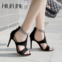 2019 Summer New Arrival Ladies Sandals Rhinestones Plus Velvet Women's Shoes High heeled Roman Sandals Sexy Female Shoes Casual