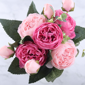 Image 4 - 30cm Rose Pink Silk Peony Artificial Flowers Bouquet 5 Big Head and 4 Bud Cheap Fake Flowers for Home Wedding Decoration indoor