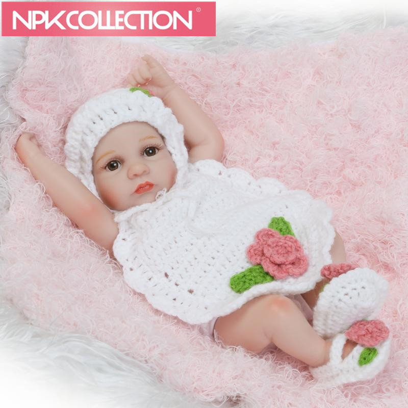 Cute 10 Inch Tiny Reborn Baby Doll Girl Realistic Full Silicone Babies Dolls Wearing Suit Clothes Kids Birthday Gift N103-104