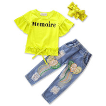 High Quality 3pcs Kids Suit Outfits Yellow T-shirt+Ripped Jeans+headband Girls Clothes Summer Fashion baby cowboy Clothing Set