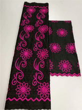 Nice embroidery 5Y African cotton lace fabric 2Y Swiss voile lace scarf fabric for wedding/party dress YCV17(5+2y)