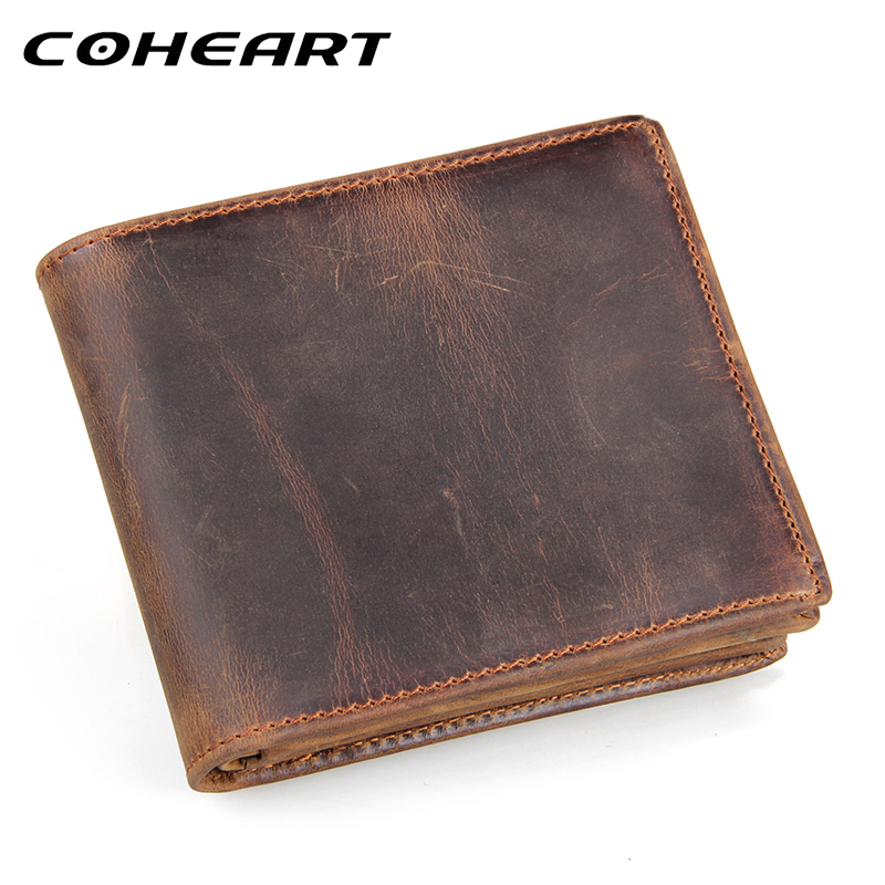 Coheart Brand 100 Genuine Leather Wallet Men Purses Cowhide Wallets Vintage Quality Guarantee Lether Wallet Carteira