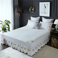 3Pcs Princess Korean Lace Embroidered Royal Bed Skirt King Queen Full Twin Size Ruffle Bedspread Pillowcase Free Shipping MR