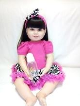 Muñecas de bebés renacidos de silicona rosa vestido de vinilo rojo muñecas del bebé 61 cm impresionante regalo del día de los niños de juguete para la novia madre de los niños