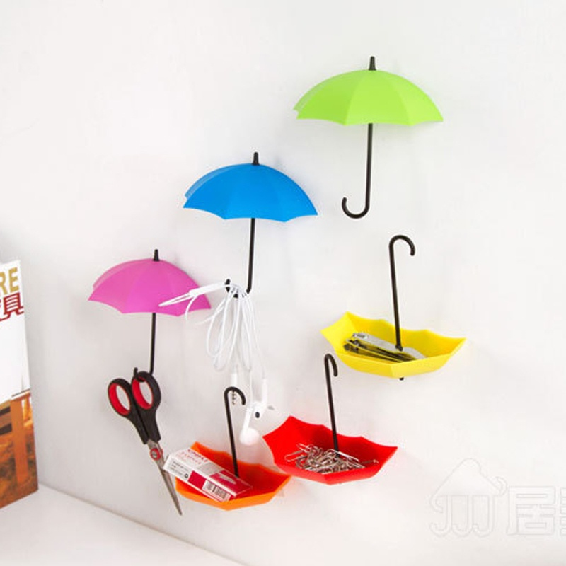 3 pcs Colorful Umbrella Hooks Bathroom Wall Command Storage Shelves