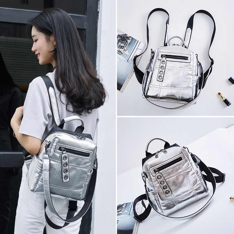 2019 Новый женский модный рюкзак для девочек школьная сумка Серебряная сумка на плечо на молнии большой дорожный рюкзак с блестками
