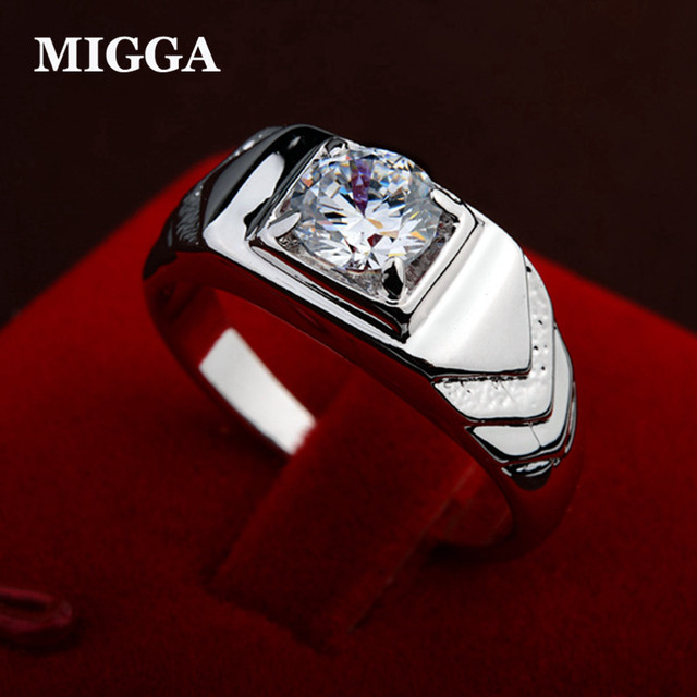 MIGGA Trendy Cubic Zirconia Stone Crystal Ring for Men Fashion Man Ring Silver Color Jewelry