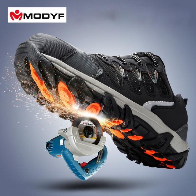 Envío libre de los hombres de trabajo puntera de acero zapatos de seguridad reflectante transpirable senderismo ocasional botas calzado de protección a prueba de pinchazos