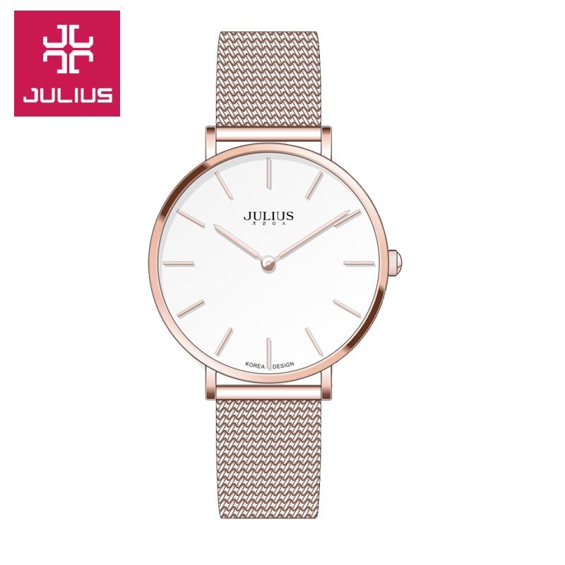 Julius Femmes Montre Dames pour femmes Femme De Luxe en acier Inoxydable De Mode Casual Simple Mince cadran Étanche Robe horloge