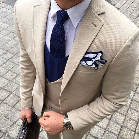Latest Pant Coat Designs 2018 Beige Business Men Suit Formal Slim