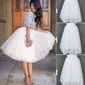 Malha de tule Voile midi saias das mulheres 2016 Novo Verão Sexy Lace conjuntos de saias Moda Feminina Jupe Elástico Branco Curto Saia Vestido de Baile