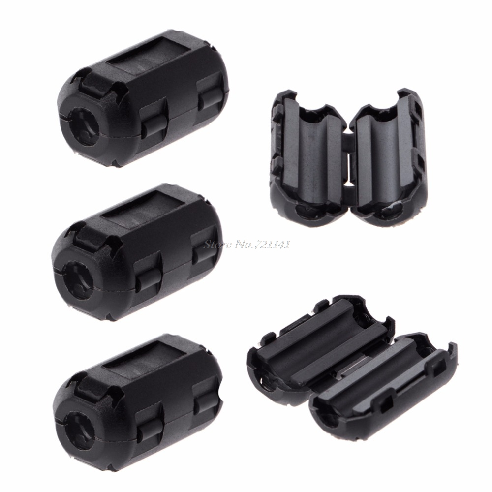 5 Pcs 5mm Clip-On Ferrite Ring Core Noise Suppressor For EMI RFI Clip Cable Active Components Filters Dropship