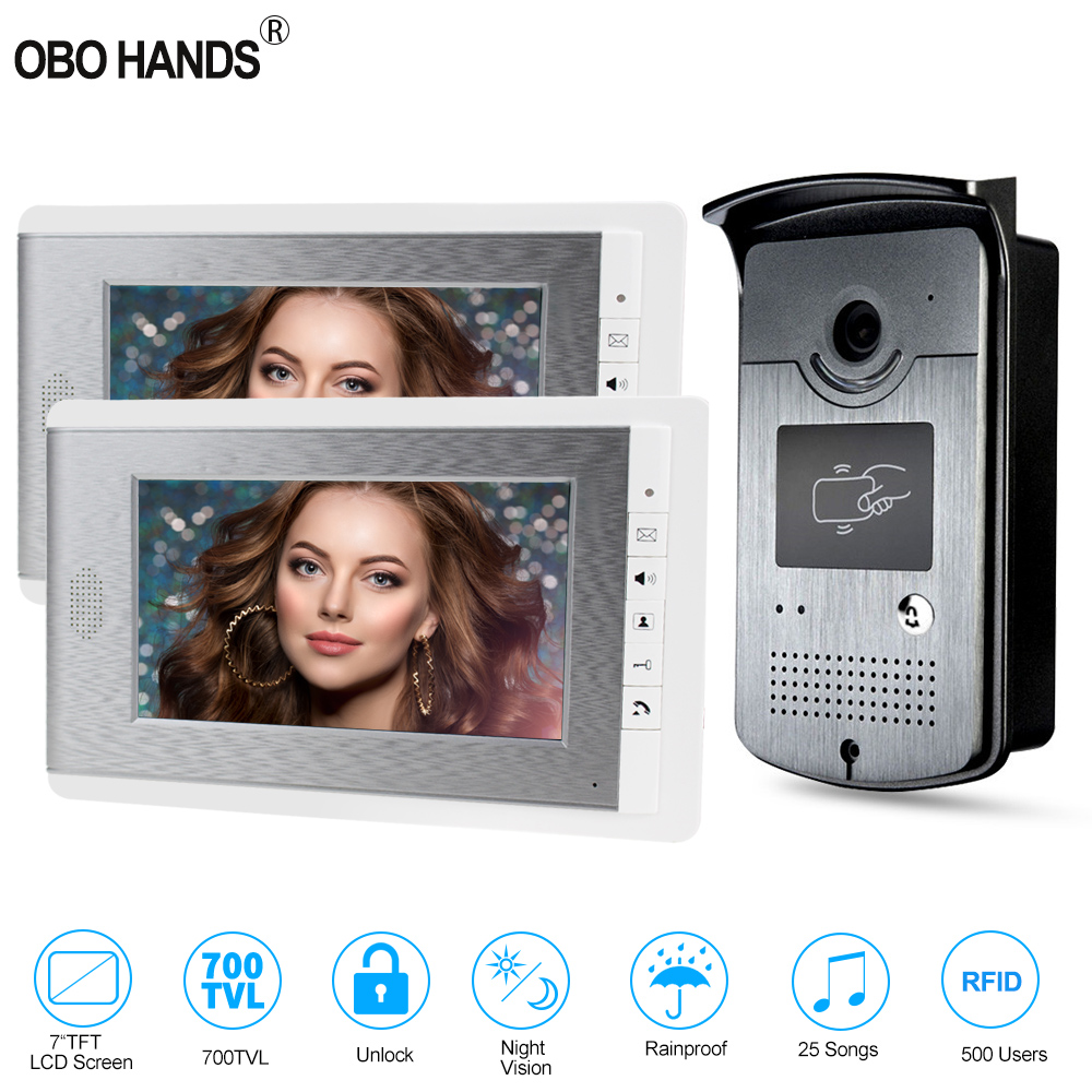 7'' TFT Color RFID Video Door Phone Intercom Doorbell Access Entry System For Home With 2 Monitors Night Vision Camera 500 Users