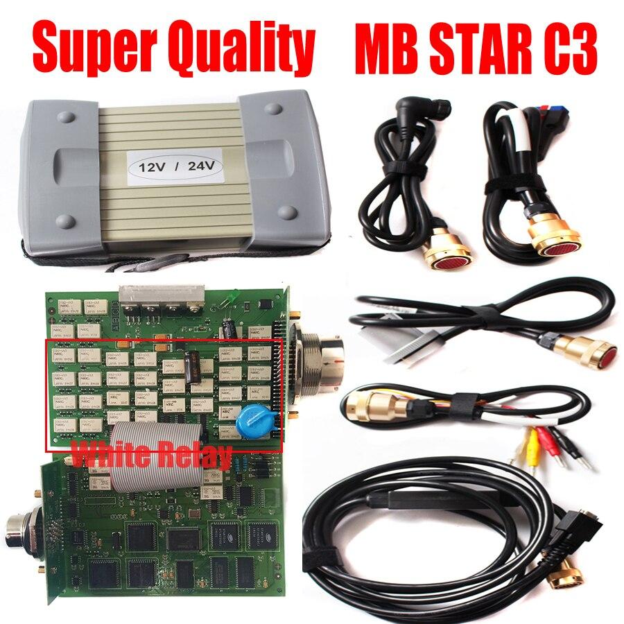 Mb star c3 multiplexer v2020.3, software versão mb sd conectar compact 3, completo, branco, relé, com cabo de ferramentas de diagnóstico