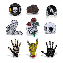 Gaya Punk Bros Penyihir Sihir Cranio Vampire Rose Tombol Pin Denim Jaket Bros Lencana Hadiah Gothic Perhiasan Dropshipping(China)
