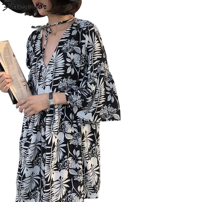Begeistert Foxmertor Sommer Schwarz Vintage Floral Chiffon Midi Kleid Plus Größe Boho Kleider Elegante Frauen Partei Langarm Kleid Vestidos Frauen Kleidung & Zubehör