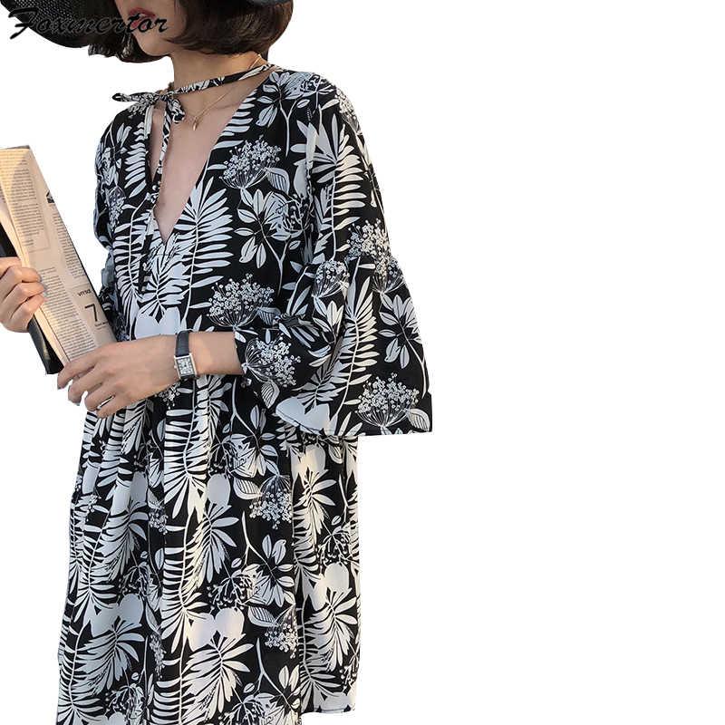 Foxmertor летнее черное винтажное цветочное шифоновое платье миди плюс размер Boho платья элегантные женские вечерние платья с длинным рукавом Vestidos