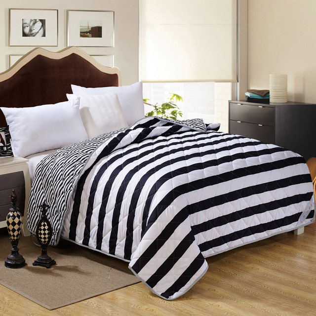 Papamima Black And White Stripes Print Summer Quilt Twin Queen Size