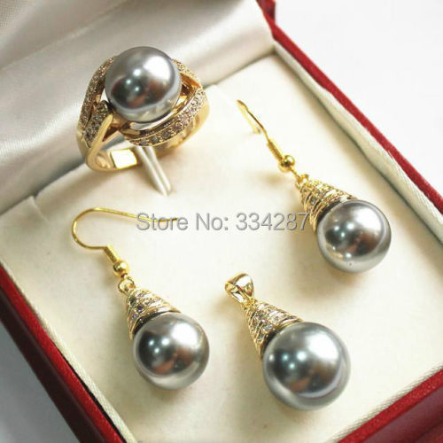6color Women's jewelry gold Shell Pearl earring Bracelet Ring Pendant set