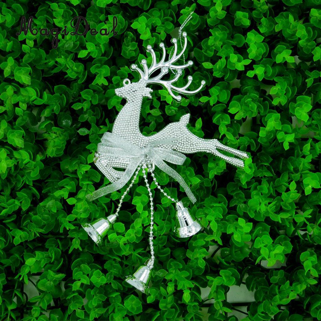 10pcs Christmas Tree Hanging Reindeer Elk Deer Bell Xmas Party Decor Gifts