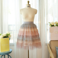 Fashion Trend Rainbow Women Skirts Tulle Rainbow Cake Skirt Saias Womens Rianbow A Line Skirts Knee
