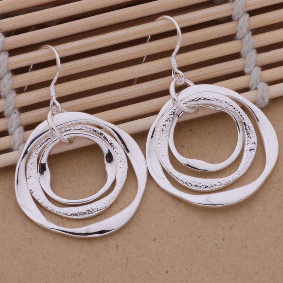 Production hot charm women lady Wedding gifts silver color charm Women circles earrings free shipping , jewelry LE008