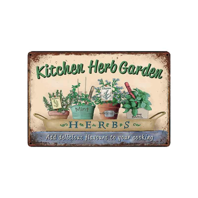[Mike86] ogród kuchnia kwiaty ptaki narzędzie znak blaszany gospodarstwo domowe dom Retro ściana malarstwo dekoracja sztuka plakatu LT-1758
