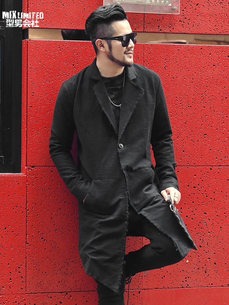 Faithful New British Style Black Suit Collar Men's Long Cardigan Coat Men Long Casual Cotton Slim Brand Design European Style Coat F8199