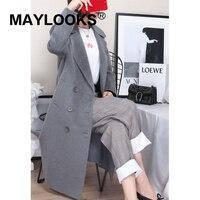 Maylooks 2018 осенне зимняя Новинка; модные, женские, шерстяные куртка косюм девушки Длинная Стильная однотонная обувь для отдыха женские шерстян