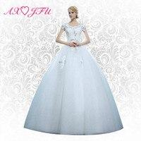 AXJFU lace flower princess wedding dress wedding party white rose wedding dress beading lace wedding dress