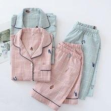 100% Cotton Gauze Short Sleeve Shorts Couples Pajamas Conch Plaid Printing Pijamas Summer Loungewear Women Sleepwear Home Sets