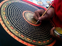 Prajna beads Black text diamond sutra six words mandala Nepal lama pure hand painted thangka paintings