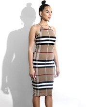 WEANIA Women Spaghetti Strap Slim Bodycon Dress Summer O-neck Sleeveless Striped Plaid Dress Ladies Office Sheath Midi Dress