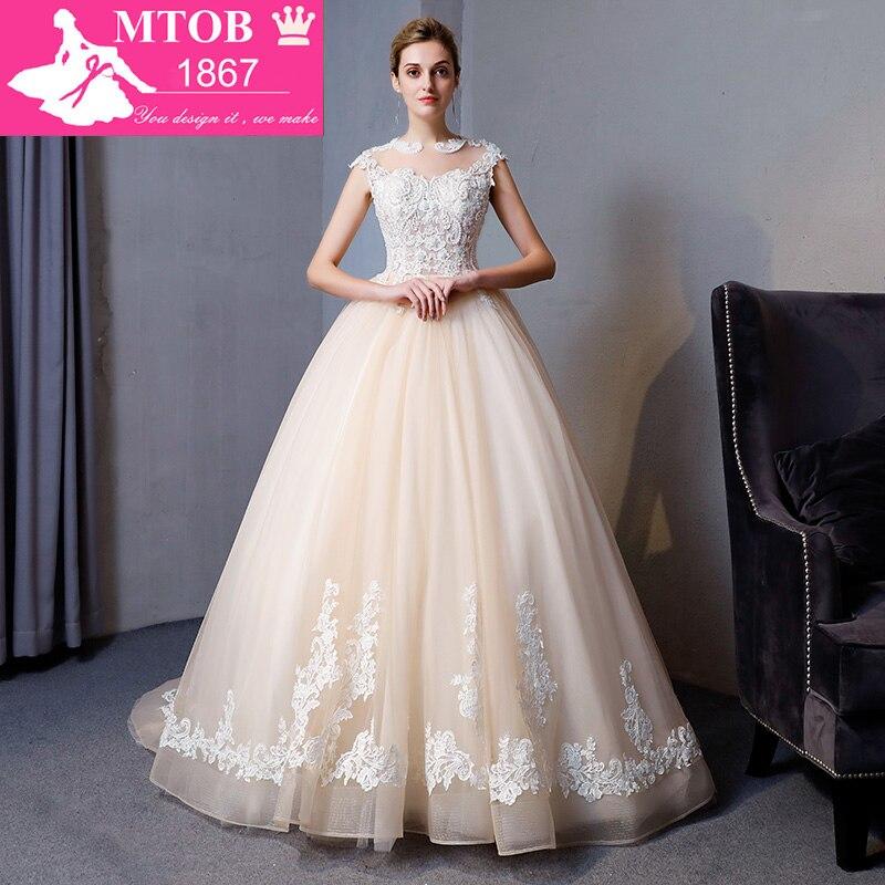 Nuovo Arrivo Abito di Sfera Abito Da Sposa In Pizzo 2018 Romantico Robe De Mariage Vestido De Noiva Lusso bordare Abiti Da Sposa MTOB1809