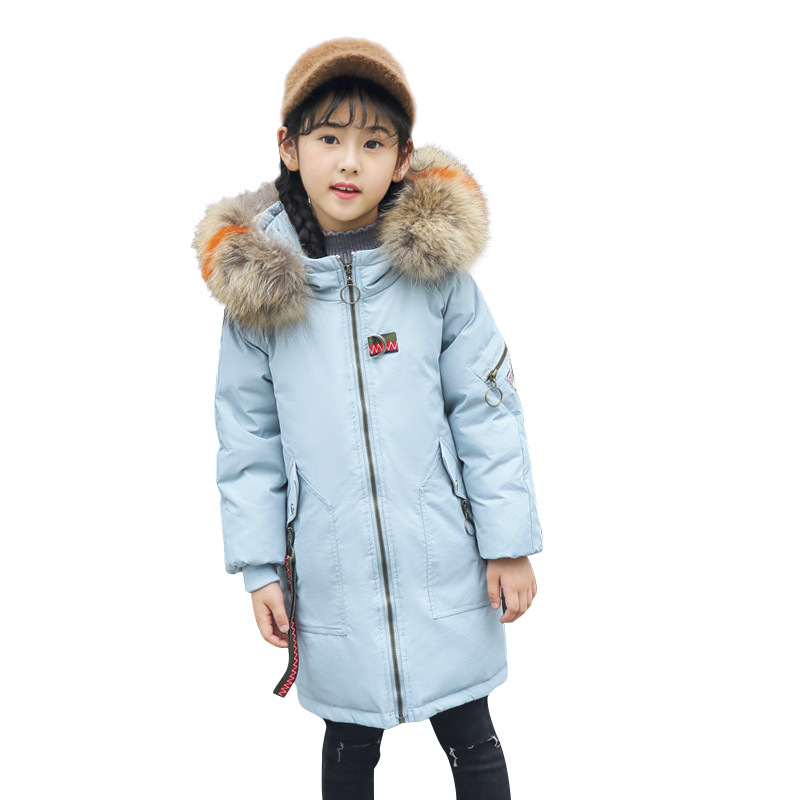 Children Down Jacket 2018 New Girls Winter Coat Kids Long Thick Outwear Coat Embroidery Pattern Letters Fashion Jacket For Girls inverno girls outwear children girls fashion winter coat