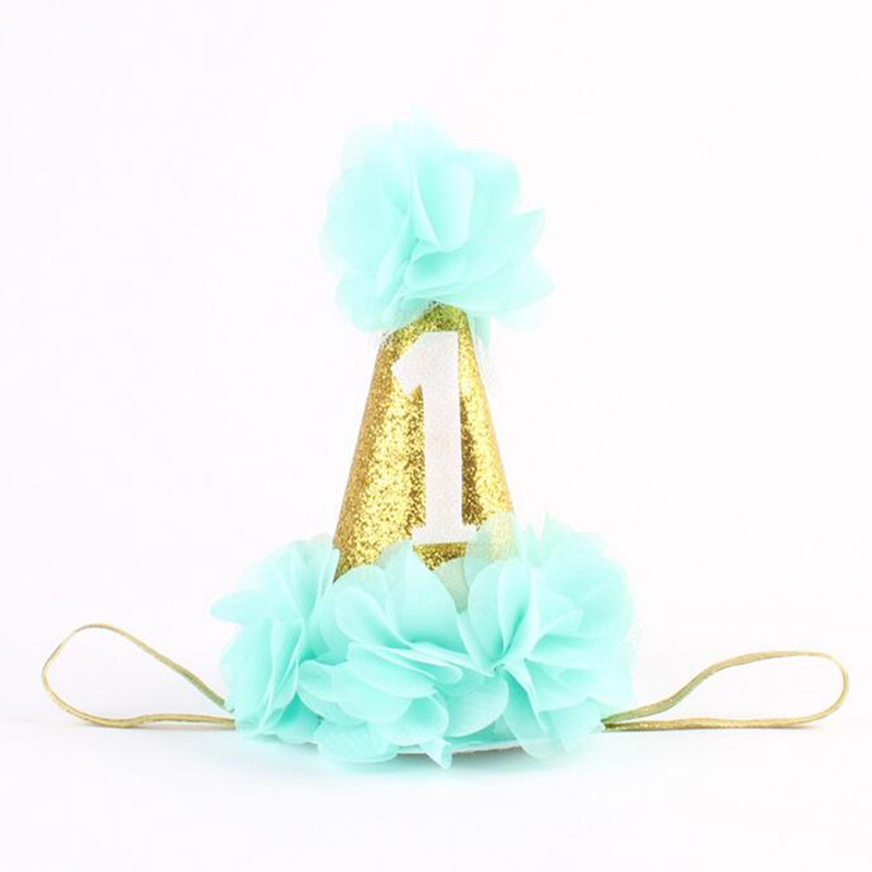 Fashion 1st Brithday Hat Fushia Glitter First Birthday Party Hat Cake Smash Flower Birthday Girls Hat Baby Girls Gold Crown