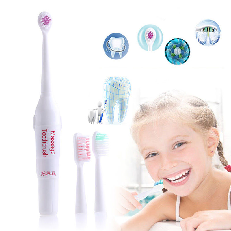 Pasa New Electric Vibrate Massage Massager Toothbrush with 3 Brush Heads Wholesale Free shipping silicone toothbrush image