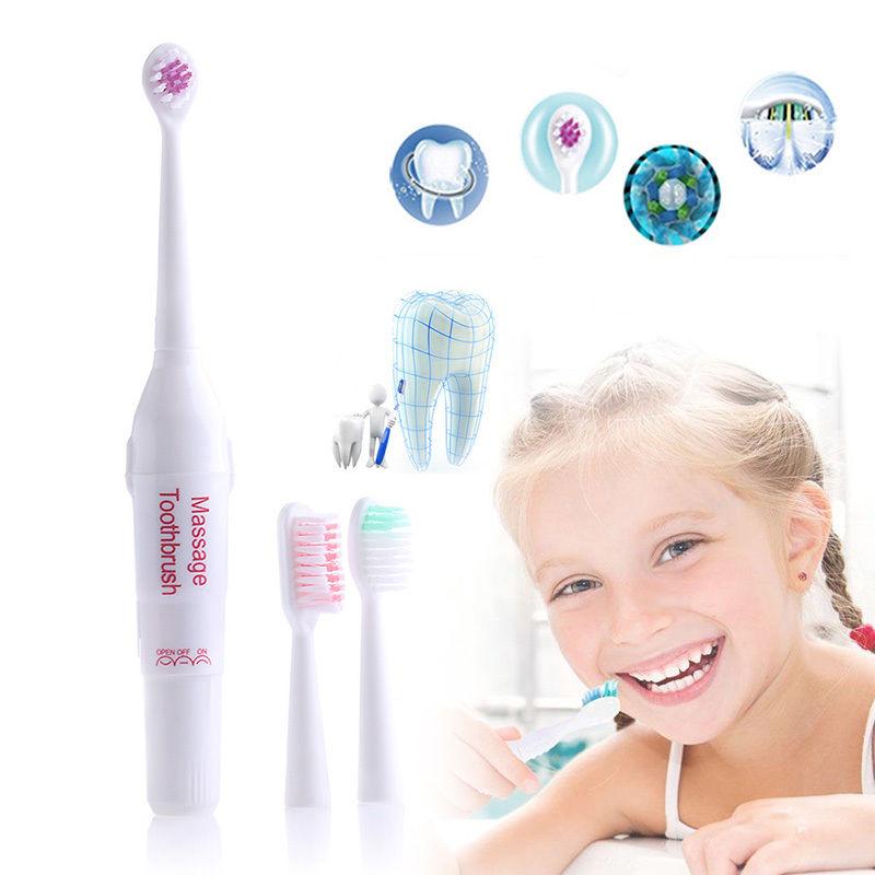 Pasa nuevo masajeador eléctrico vibrador cepillo de dientes con 3 cabezales al por mayor envío gratis cepillo de dientes de silicona Cepillo para blanquear dientes Ultra sónico para el trabajo con Motor de seis colores