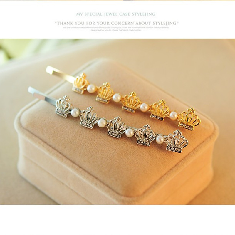 The new crown word folder clip Korean jewelry pearl hairpin crystal side clip hair accessories