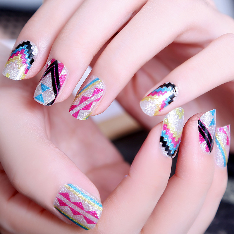 Colorful Summer Design Full Nail Art 12pcs Nail Polish Strips Long