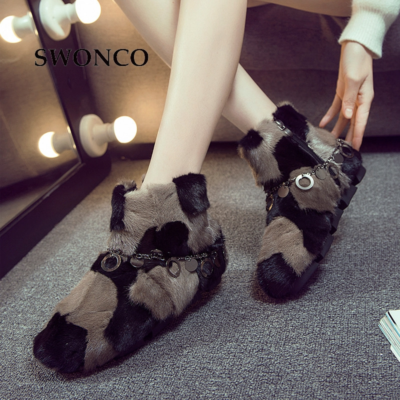 SWONCO Womens Ankle Boots 2018 Winter Luxury Natural Fur Snow Boot Shoes Woman Boots Winter Fashion Chain Warm Woman Ankle BootSWONCO Womens Ankle Boots 2018 Winter Luxury Natural Fur Snow Boot Shoes Woman Boots Winter Fashion Chain Warm Woman Ankle Boot