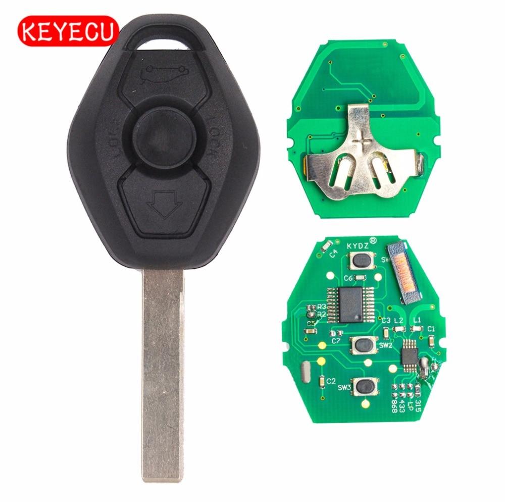 Keyecu CAS2 Car Remote Key 3 Button for BMW 1 3 5 6 Series X5 868MHz ID7944 Chip HU92 Blade